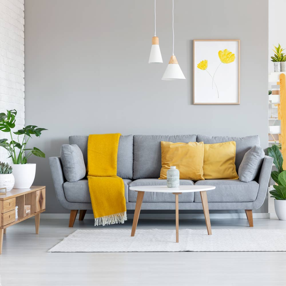 Yellow and Grey Accented Living Room