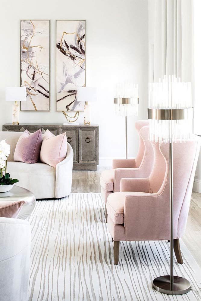 How Do You Make A Living Room Cozy? #pinkchair #light