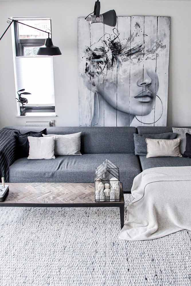 How Can I Make My Living Room Look Bigger? #graycolor #woodenpicture