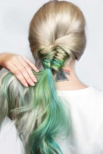 Stylish Braids With Colored Long Hair picture 3