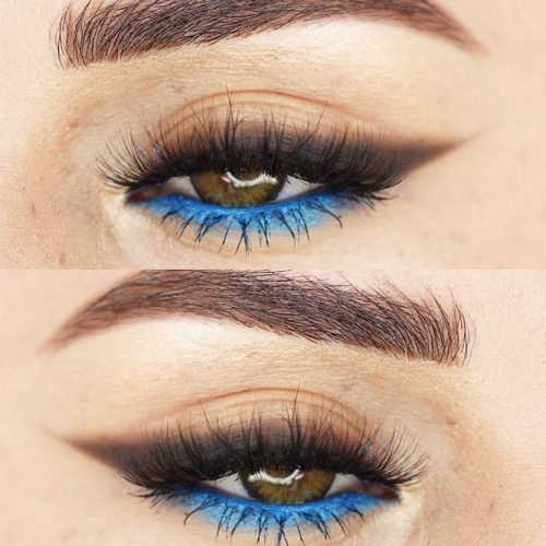 Bold Brown And Blue Eyeline Makeup Idea #browneyeline #blueeyeline