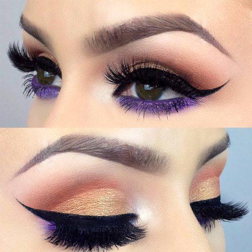 Pin Up Eyeline With Purple Shadow Makeup Look #eyeline #purpleshadow