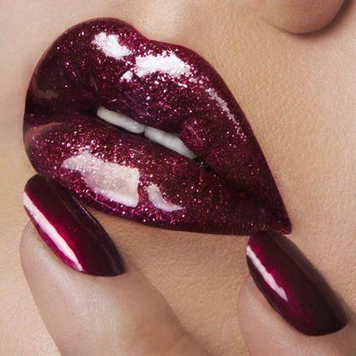 Glitter Maroon Lipstick picture6