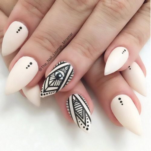 Black And White Tribal Matte Nail Art