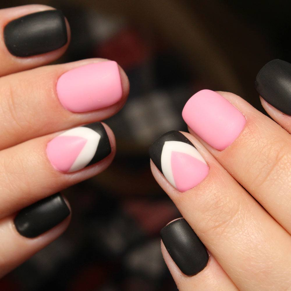 Black, Pink and White Matte Nails