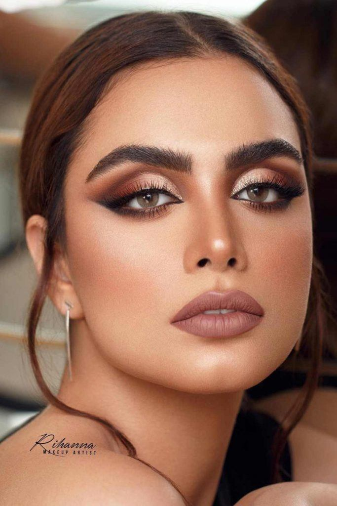 Brown Smokey Eyes Makeup #nudelipstick