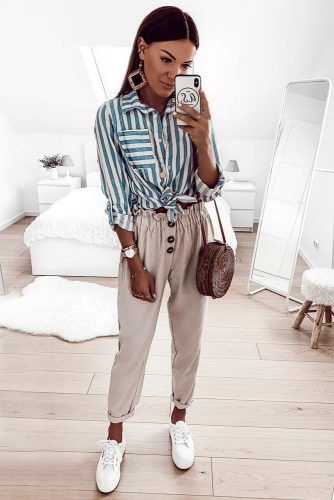 Striped Shirt With Summer Pants Brunch Outfit #stripedshirt