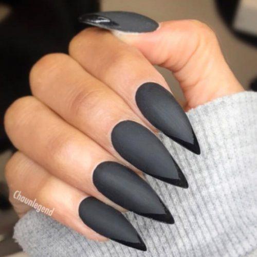 Black Matte Stiletto Nails #blackstiletto