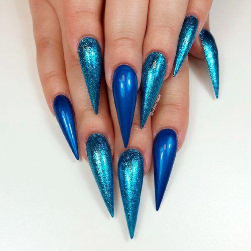 Mermaid Blue Stiletto Nails #bluenails #glitternails
