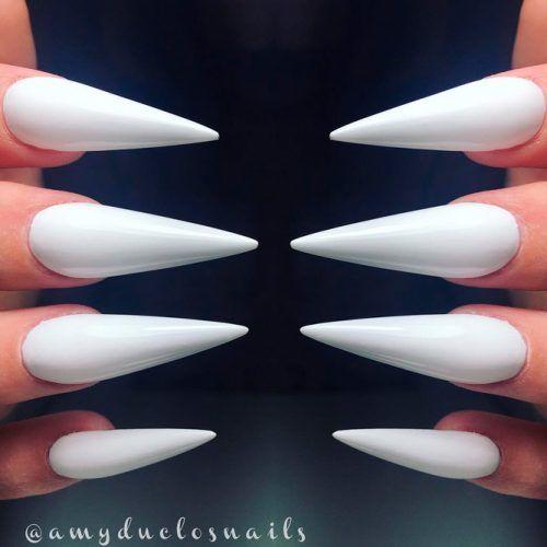 Easy White Stiletto Nails Design #whitenails #simplenails
