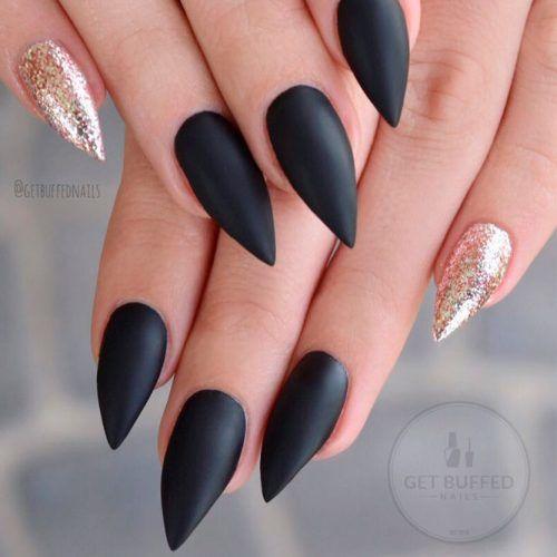 Black Matte Stiletto Nails With Glitter Accent #mattenails #blacknails