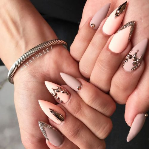 Glamorous Long Stiletto Nails With Nude Colors #nudenails