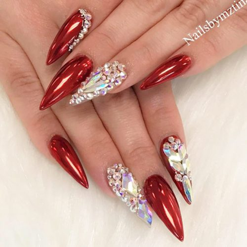 Stiletto Shaped Nails Design For A Special Occasion #redstiletto