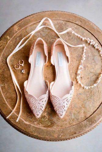 Beige Wedding Flats #beigeshoes #rhinestonesshoes