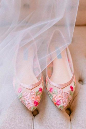 Capron Wedding Flats With Bright Flowers #flowersshoes #weddingshoes