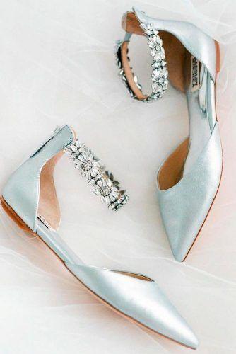 Pearly Blue Wedding Flats #rhinestonesshoes #blueflats