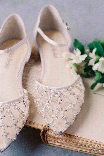 Capron Flats With Beads #beadsshoesdecor #whiteweddingflats