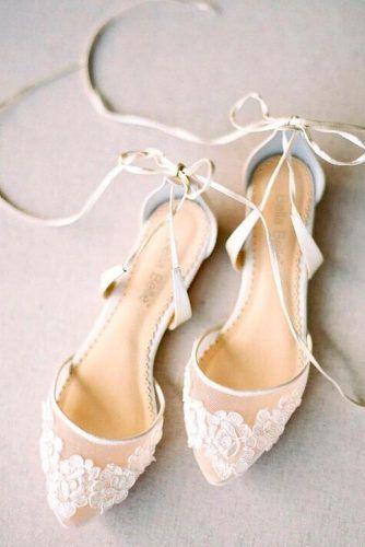 Capron Wedding Flats With White Flowers #whiteshoes #weddingshoes #capronflats