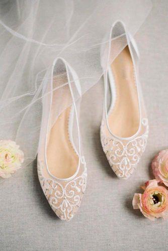 Elegant Capron Wedding Flats #weddingshoes #whiteshoes