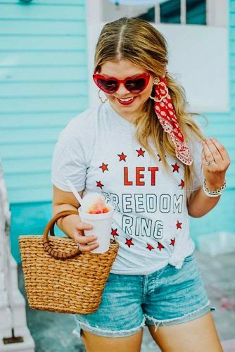 T-shirt With Denim Shorts 4th Of July Outfit #tshirt #denimshorts