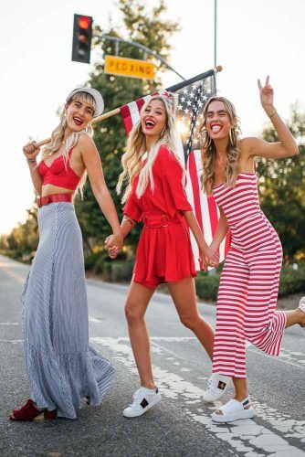 4th Of July Outfits In Red, White And Blue Colors #stripedoutfits #overall
