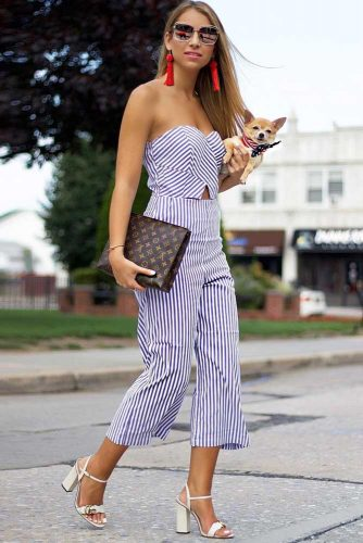 Cocktail Outfit Idea For 4th Of July #cocktailoutfit #stripedjumpsuit