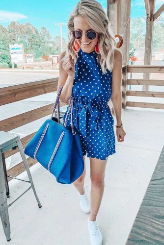 Blue Polka Dots Romper With Red Earrings #romper