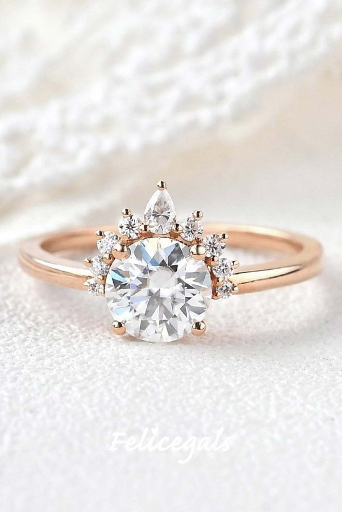Round Engagement Ring With Small Pear Diamonds #roundringshape #peardiamond