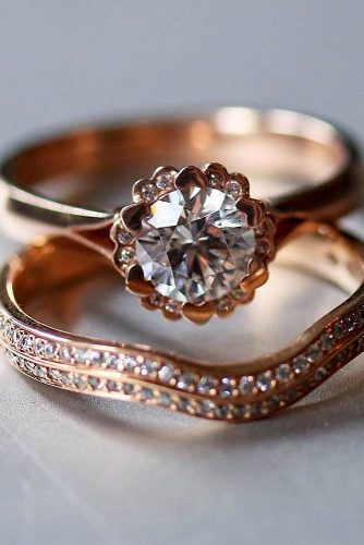 Rose Gold Engagement Rings Set #ringset #roundring