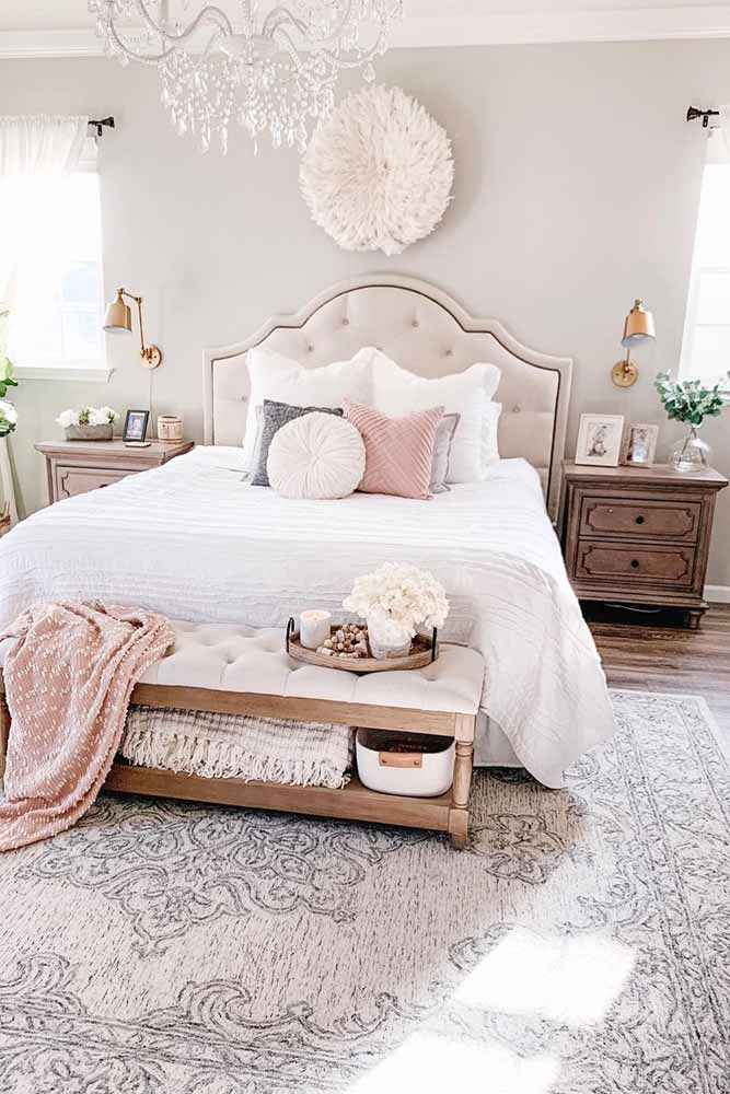 Pastel Light Colors For Bedroom Decorations #bedsidetables #pillows
