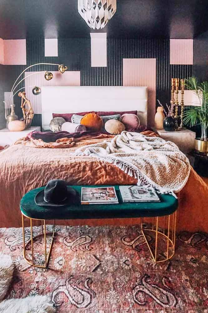 Modern Bedroom Design With Boho Accents #brightcolors #bohoaccents
