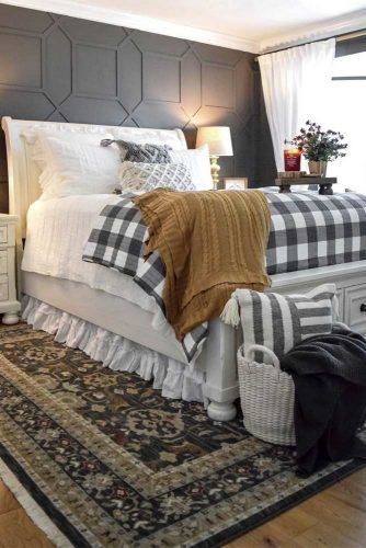 Cozy Bedroom With Ornament Accents #plaidaccent