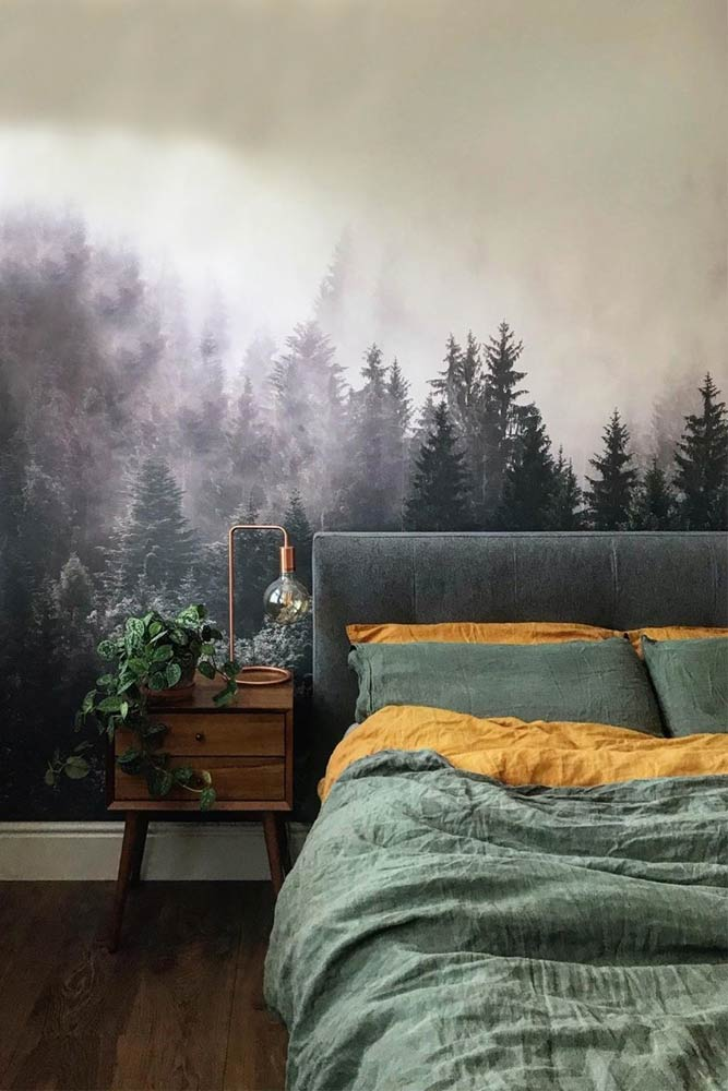 Painted Wallpaper With Wooden Bedside Table For Your Bedroom #bedsidetable #paintedwall