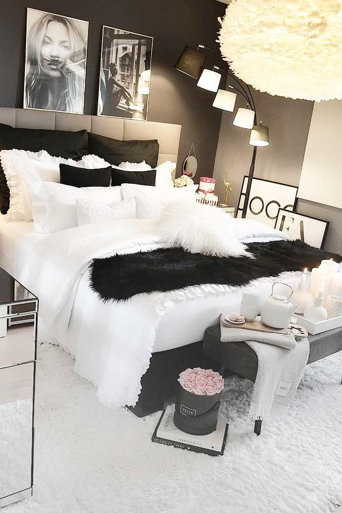 Cozy Bedroom Design With Fur Accents #pillows #fur