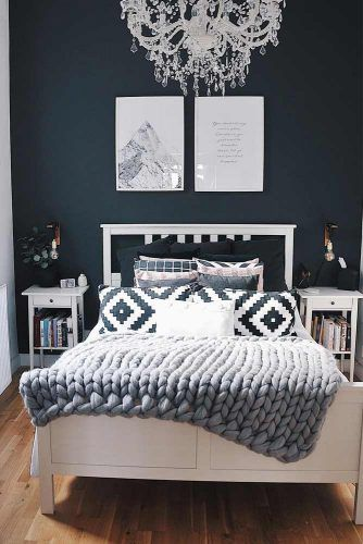 Modern Bedroom Design With Ornament Pillows #darkwallcolor