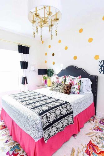 Modern Bedroom With Bright Decorations #polkadotswalldecor #stripedcurtains