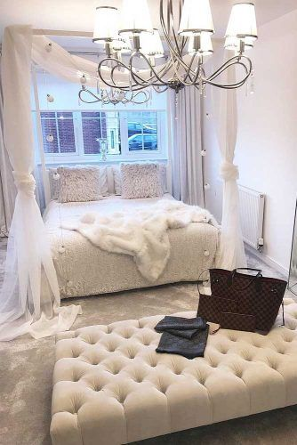 Glam Bedrom Design In Neutral Colors #canopybed #fur