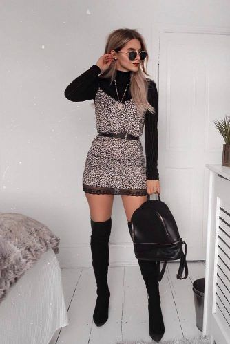 OTK Boots With Animal Printed Dress #otkboots #animalprinteddress