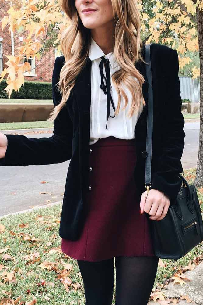 Back To School Outfits With Skirt And Blouse #miniskirt #blazer #blouse