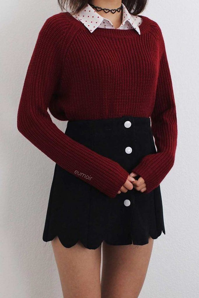 Cute Layered Outfits With Sweater And Shirt Underneath
