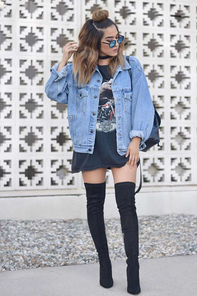 Denim Jacket With Long T-shirt Dress #denimjacket
