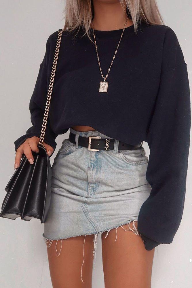 Denim Skirt Outfits For School #denimskirt