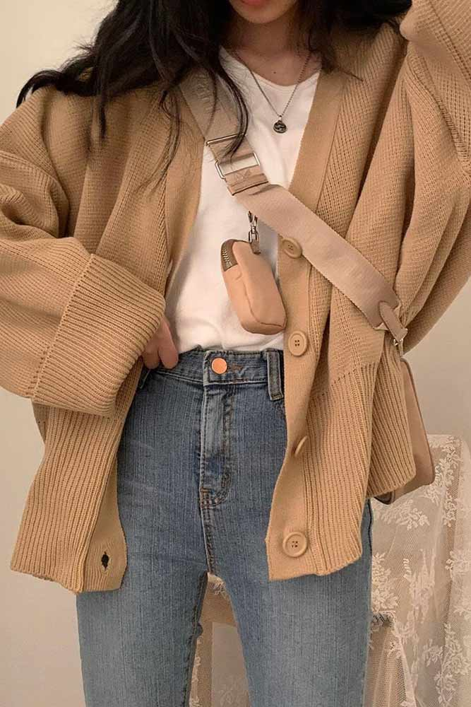 Oversize Cardigan With Jeans #cardigan