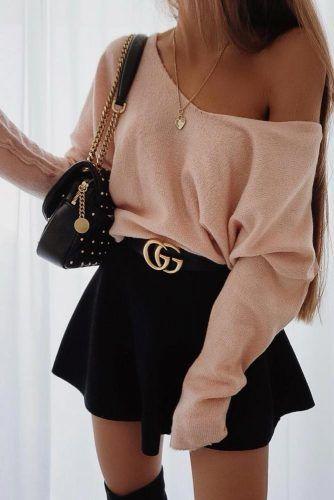 Mini Skirt With One Shoulder Top #miniskirt