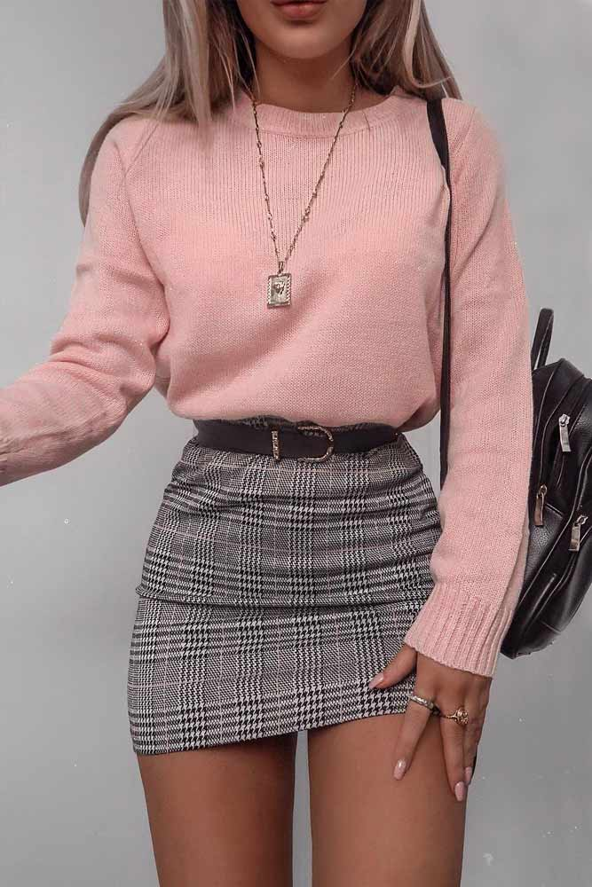 Plaid Skirt With Pink Sweater #plaidskirt #miniskirt