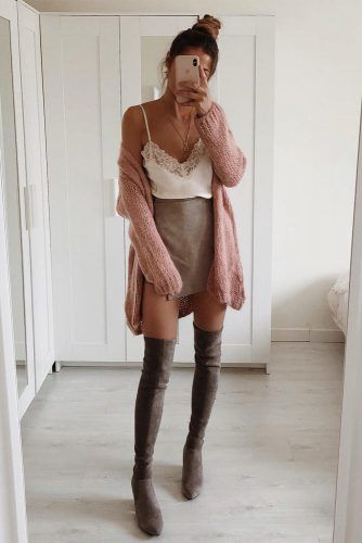 Mini Skirt With Long Cardigan And OTK Boots #otkboots #cardigan