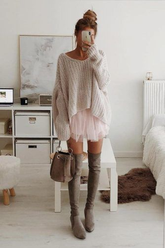 Oversize Sweater With Skirt And OTK Boots #otkboots #sweater