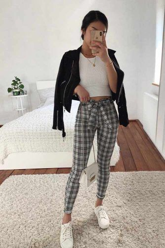 Plaid Pants With Top For School #plaidpants