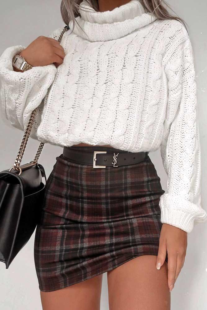 Oversize Sweater With Plaid Skirt #plaidskirt