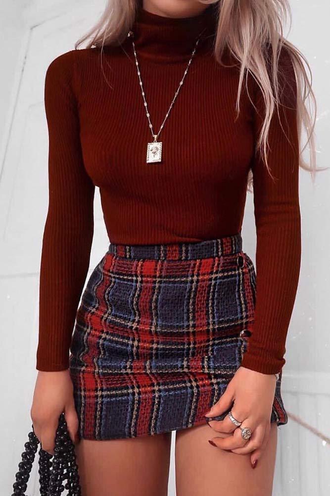 Cute School Outfits With Plaid Mini Skirt #plaidskirt #miniskirt